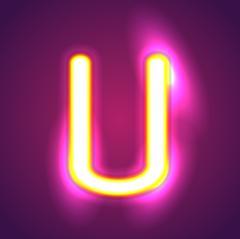 the letter u illumination - stock illustration