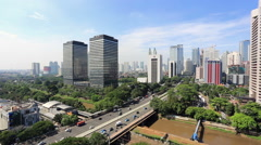 Traffic in Jakarta business district Stock Footage