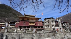 Traditional Tibetan temple and residence buildings in a Sichuan village Stock Footage