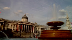 Trafalgar Square, slow shutter, fountains, HD, UP19213 Stock Footage