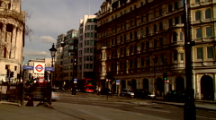 Trafalgar Square, double decker buses, slow shutter, people or person in shot, Stock Footage