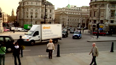 Trafalgar Square, black cabs, people or person in shot, HD, UP19216 - stock footage