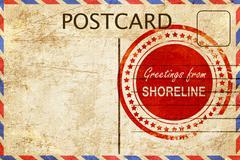 Shoreline stamp on a vintage, old postcard Stock Illustration