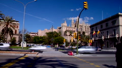 Palma Cathedral, slow shutter, people or person in shot, HD, UP19232 Stock Footage