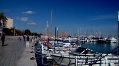 Boats bobbing in marina, people walking by very fast, HD, UP19254 - stock footage