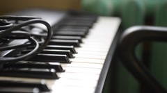 Detail of synthesizer keyboard Stock Footage