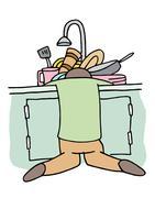 Tired Dishwasher Man - stock illustration