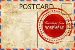 Rosemead stamp on a vintage, old postcard Stock Illustration