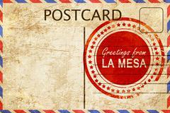 La mesa stamp on a vintage, old postcard Stock Illustration