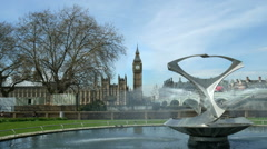 Zoom in to Westminster parliament Big Ben clock tower. Stock Footage