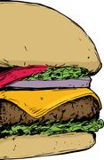 Close up on Cheeseburger Stock Illustration