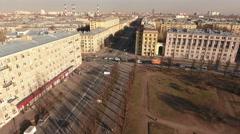 Traffic of cars is on crossroad of Krasnoputilovskaya, St. Petersburg, Russia Stock Footage