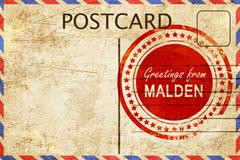 malden stamp on a vintage, old postcard - stock illustration