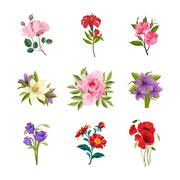 Garden Flowers Set - stock illustration