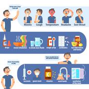 Flu And Cold Infographics - stock illustration