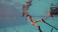 Freediving course playtime, swimming pool, underwater, HD, UP29121 Stock Footage