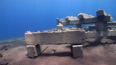 Ocean scenery artificial reef, man made structure, concrete blocks with starter Stock Footage