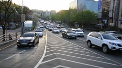 Rush hour traffic at sunset in Seoul, South Korea Stock Footage