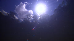 Underwater shot of sunball and clouds with gum trees lining a creek. Stock Footage