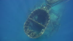 Freediver ascending on wreckage in Australia, HD, UP29127 Stock Footage