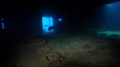 Ocean scenery inside the ship, on wreckage, HD, UP29031 Stock Footage