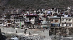 Traditional Tibetan folk residence buildings in a well preserved village, Xisuo, Stock Footage