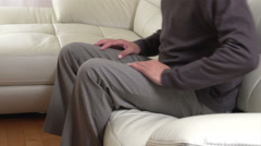 Senior man with a back pain. Stock Footage