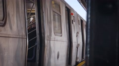 MTA NYC train doors closing - stock footage
