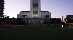 Tilt up to Los Angeles City Hall in pre-dawn light 4K Stock Footage