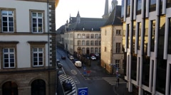 Luxembourg City, Luxembourg - winter 2016. Rue Notre Dame Morning Light (4K). Stock Footage