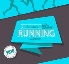 Running marathon and jogging emblem. - stock illustration