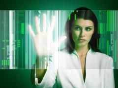 Woman touching screen Stock Photos