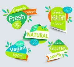 Modern vector set of healthy organic food labels. - stock illustration