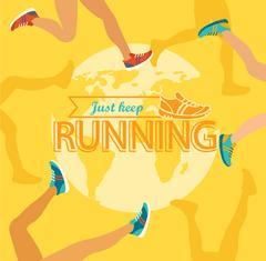 Summer running marathon. - stock illustration