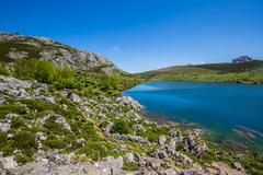 Lake Enol and mountain retreat, the famous lakes of Covadonga, Asturias , Spa Stock Photos