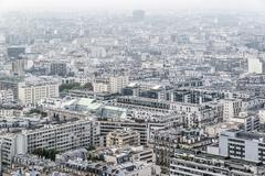 Residential district of Paris in foggy weather Stock Photos