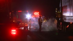 Stock Video Footage of highway accident scene night black ice, #4, chaos
