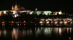 Prague at night with Charles Bridge Karluv Most over Vltava river and Prague - stock footage