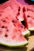 Watermelon on cutting board Stock Photos