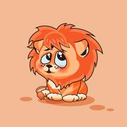 Lion cub confused - stock illustration