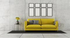 Concrete room with yellow couch Stock Illustration