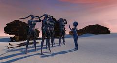 Alien Planet Science Fiction Scene at Sunset Stock Illustration