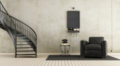 Vintage room with staircase - stock illustration