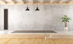 Empty two levels living room - stock illustration