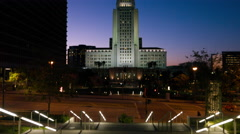 Tilt up to night view of Los Angeles City Hall 4K Stock Footage