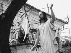 Low angle view of Jesus Christ statue against building, Pizzo, Calabria, Italy Stock Photos