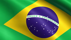 Flag of Brazil, waving in slow motion Stock Footage
