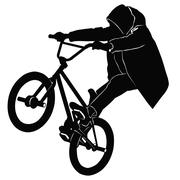 Teenager riding a BMX bicycle Stock Illustration