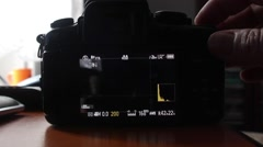 Photographer press record button the video camera and it gives an error and - stock footage