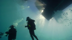 Buddy team of scuba divers ascending, HD, UP20137 Stock Footage